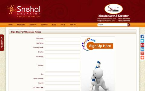 Screenshot of Signup Page snehalcreation.com - Snehal Creation- Sign Up for wholesale prices - captured Oct. 26, 2014
