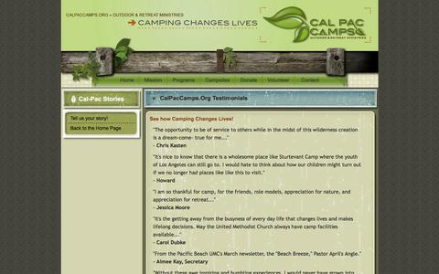 Screenshot of Testimonials Page lazywranch.org - CalPacCamps.org - Camping changes lives - captured May 16, 2017
