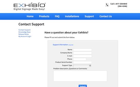 Screenshot of Support Page exhibio.com - Contact Support - captured Oct. 3, 2014