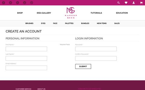 Screenshot of Signup Page makeupgeek.com - Create New Customer Account  - Makeup Geek - captured Sept. 14, 2016