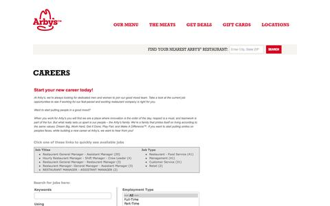 Screenshot of Jobs Page arbys.com - Arby's | Careers - captured Sept. 19, 2014