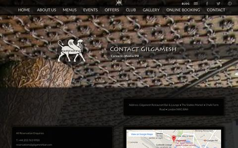 Screenshot of Contact Page Jobs Page gilgameshbar.com - Gilgamesh - Contact - captured Sept. 23, 2014