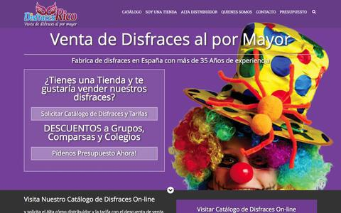 Screenshot of Home Page disfracesrico.com - Venta de Disfraces al por Mayor. Fabrica disfraces España - captured Feb. 9, 2016