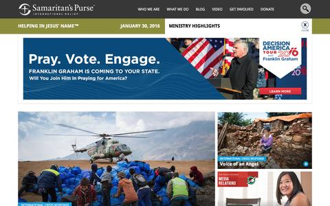 Screenshot of Home Page samaritanspurse.org - Samaritan's Purse — International Relief - captured Jan. 30, 2016