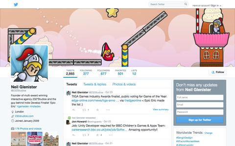 Screenshot of Twitter Page twitter.com - Neil Glenister (@232Studios) | Twitter - captured Oct. 25, 2014