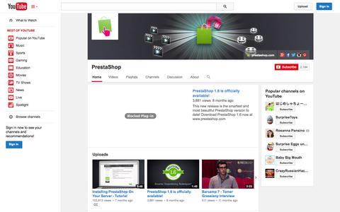 Screenshot of YouTube Page youtube.com - PrestaShop  - YouTube - captured Dec. 17, 2014