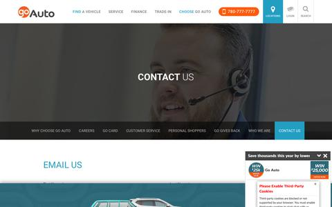 Screenshot of Contact Page goauto.ca - New and Used Cars for sale in Edmonton   Go         Auto - captured April 23, 2018