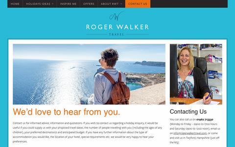 Screenshot of Contact Page rogerwalkertravel.com - Contact Us - Roger Walker Travel - captured Jan. 25, 2018
