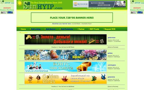 Screenshot of Home Page sunhyip.com - sunhyip.com - HYIP Make Money Online - The Best High Yield Investment Programs Rating Service. - captured Sept. 30, 2014