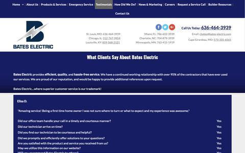 Screenshot of Testimonials Page bates-electric.com - Electrical Repair St Louis MO, Louisville KY & Miami FL - Bates Electric, Inc. - captured Oct. 5, 2018