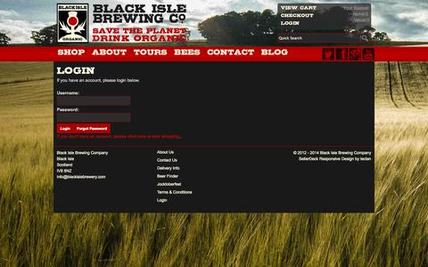 Screenshot of Login Page blackislebrewery.com - Black Isle Brewing Company Login - captured Sept. 30, 2014
