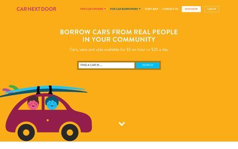 Screenshot of Home Page carnextdoor.com.au - Home | Car Next Door - captured Dec. 2, 2015