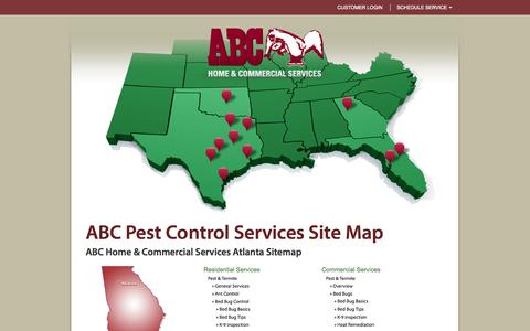 Screenshot of Site Map Page abchomeandcommercial.com - ABC Home & Commercial Services Locations & Contact Information - ABC Pest Control and Lawn Service for Dallas and Austin and surrounding areas - captured Sept. 19, 2014