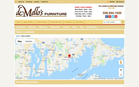Screenshot of Maps & Directions Page demellos.com - Find a Home Furniture Store Near You - deMello's Furniture | New Bedford, MA - captured Oct. 9, 2018
