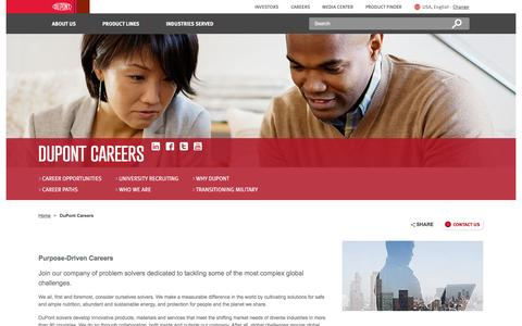 Screenshot of Jobs Page dupont.com - Careers  | DuPont USA | DuPont USA - captured Oct. 30, 2015