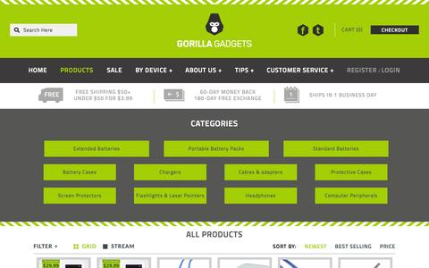 Screenshot of Products Page gorillagadgets.com - All Products - captured Sept. 19, 2014