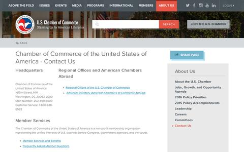 Screenshot of Contact Page uschamber.com - Chamber of Commerce of the United States of America - Contact Us | U.S. Chamber of Commerce - captured Jan. 20, 2016