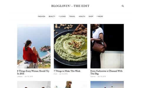 Screenshot of Blog bloglovin.com - Bloglovin'—the Edit - captured Jan. 18, 2016
