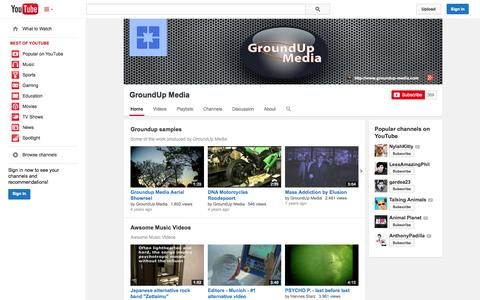 Screenshot of YouTube Page youtube.com - GroundUp Media  - YouTube - captured Oct. 23, 2014