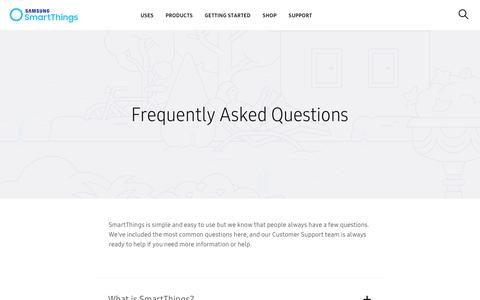 Screenshot of FAQ Page smartthings.com - SmartThings. Add a little smartness to your things. - captured April 11, 2017