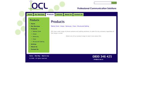 Screenshot of Products Page ocl.net.nz - Telephone Systems - captured Oct. 7, 2014