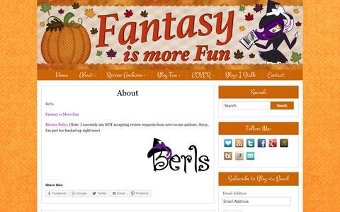 Screenshot of About Page fantasyismorefun.com - About - Fantasy is More FunFantasy is More Fun - captured Nov. 4, 2014