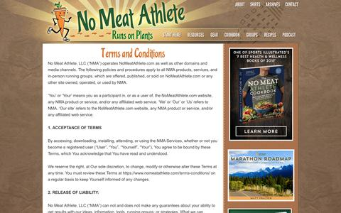 Screenshot of Terms Page nomeatathlete.com - Terms and Conditions | No Meat Athlete - captured Oct. 15, 2018