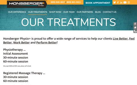 Screenshot of Services Page honsbergerphysio.com - Honsberger Physio+: Our Treatments - Services - captured Sept. 29, 2018