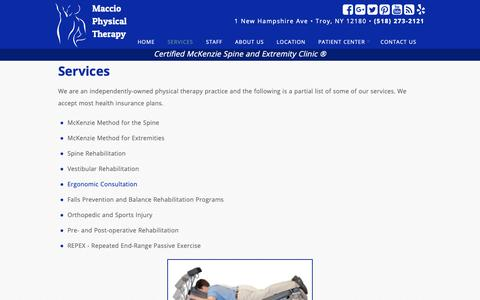 Screenshot of Services Page macciophysicaltherapy.com - Services - Maccio Physical Therapy - captured Nov. 5, 2018