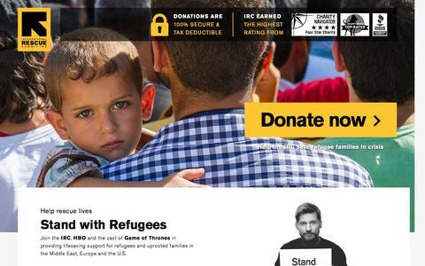 Screenshot of Landing Page rescue.org - Stand with Refugees | International Rescue Committee - captured Nov. 27, 2016