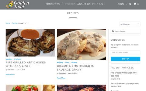 Screenshot of Press Page goldentoad.com - Recipes - Golden Toad - captured Nov. 11, 2016