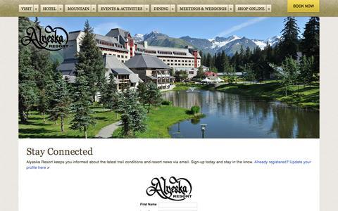 Screenshot of Signup Page alyeskaresort.com - Email Signup  | News & Events | Deals & Specials | Alyeska Resort - captured Oct. 8, 2017