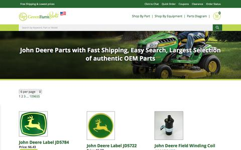 Screenshot of Products Page greenfarmparts.com - John Deere Parts with Fast Shipping, Easy Search, Largest Selection of authentic OEM Parts - captured July 24, 2018