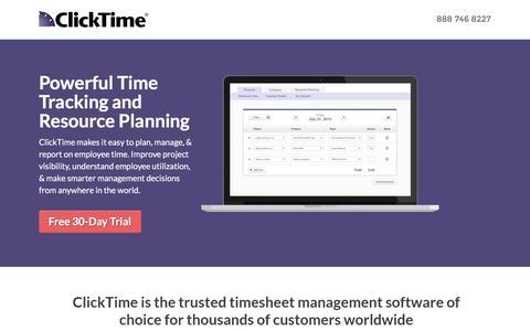 Screenshot of Landing Page clicktime.com - ClickTime Timesheets & Expense Software - captured Sept. 7, 2016