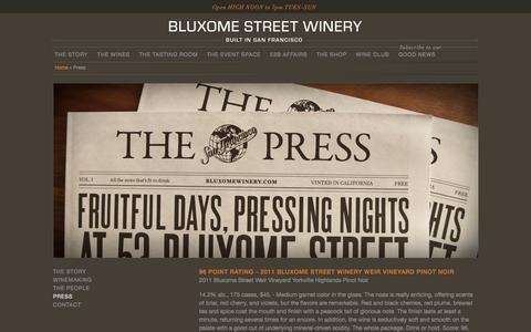 Screenshot of Press Page bluxomewinery.com - Bluxome Street Winery - captured Oct. 5, 2014