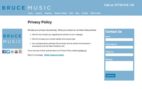 Screenshot of Privacy Page brucemusic.co.uk - Privacy Policy - captured Sept. 30, 2014