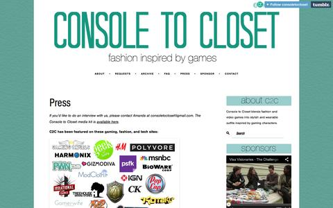 Screenshot of Press Page consoletocloset.com - Press | Console to Closet | Fashion Inspired by Video Game - captured Sept. 30, 2014