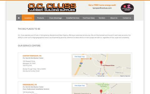 Screenshot of Locations Page occluss.com - Locations - OC Cluss Lumber/Building Supplies - captured Oct. 4, 2017