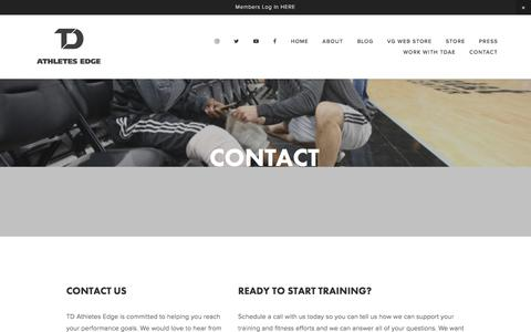 Screenshot of Contact Page tdathletesedge.com - Contact — TD Athletes Edge - captured Sept. 19, 2019