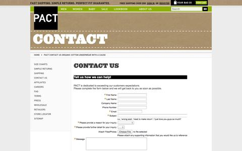 Screenshot of Contact Page wearpact.com - PACT Contact Us Organic Cotton Underwear With A Cause - captured Sept. 17, 2014