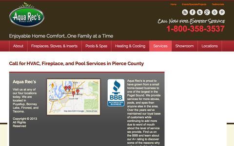 Screenshot of Services Page aquarec.com - Aqua Rec's HVAC, Fireplace & Pool Service in Tacoma, WA - captured Oct. 4, 2014