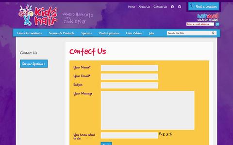 Screenshot of Contact Page kidshairinc.com - Contact Kids Hair | Kids Haircuts Salons | Kids' Hair Inc. - captured Sept. 19, 2014