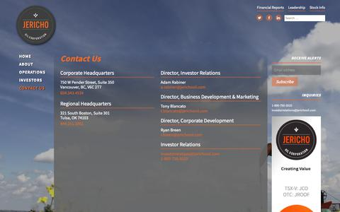 Screenshot of Contact Page jerichooil.com - Contact Us – Jericho Oil - captured Oct. 13, 2018
