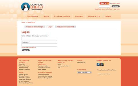 Screenshot of Login Page downeastenergy.com - Log in - captured Oct. 5, 2014