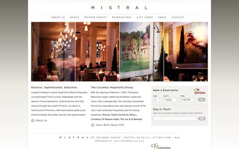 Screenshot of Home Page mistralbistro.com - Home - Mistral BistroMistral Bistro | Best of Boston French Bistro - captured Oct. 1, 2014