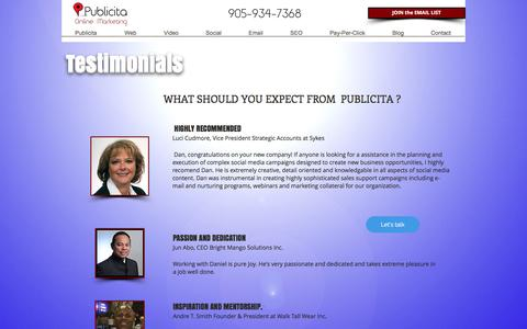 Screenshot of Testimonials Page publicita.ca - PUBLICITA   WHAT THEY SAY   5-star reviews top-rated websites - captured Oct. 17, 2016
