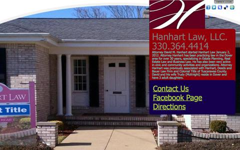 Screenshot of Home Page hanhartlaw.com - Hanhart Law, LLC.                         330.364.4414 - captured June 18, 2015