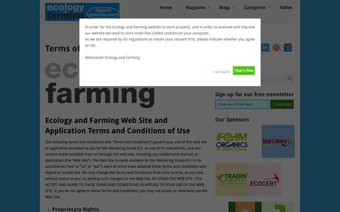 Screenshot of Terms Page ecologyandfarming.com - Terms of Use - Ecology and Farming - captured July 11, 2016