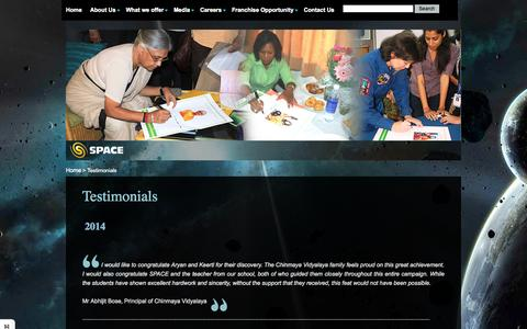 Screenshot of Testimonials Page space-india.com - astronomical,space science,astronomy in india,development of science - captured Nov. 5, 2014