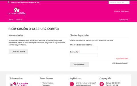 Screenshot of Login Page lacasitadekitty.com - Acceso del cliente - captured July 15, 2018